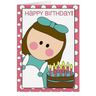 feliz aniversario (menina) cartão comemorativo