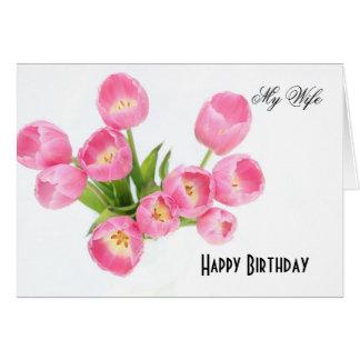 Feliz aniversario minha esposa cartão comemorativo