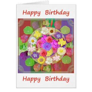 Feliz aniversario: Mostra de flor Cartão Comemorativo