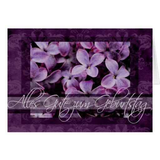 Feliz aniversario nas flores alemãs do Lilac Cartao
