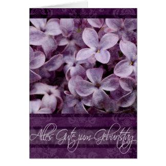 Feliz aniversario nas flores alemãs do Lilac Cartão Comemorativo