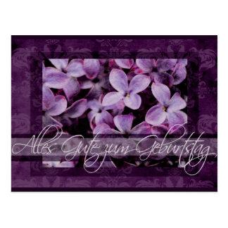 Feliz aniversario nas flores alemãs do Lilac Cartões Postais
