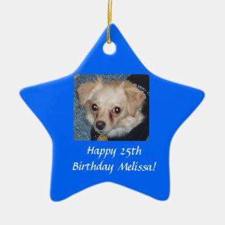 Feliz aniversario ornamento de cerâmica estrela