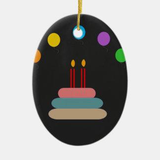 Feliz aniversario ornamento de cerâmica