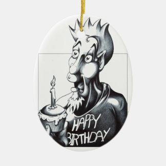 Feliz aniversario ornamento de cerâmica oval