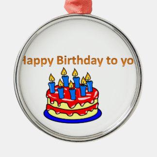 Feliz aniversário ornamento redondo cor prata
