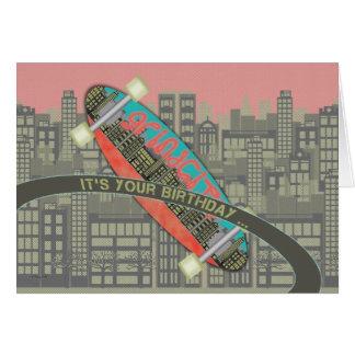 Feliz aniversario para o fragmento do skate do cartão comemorativo