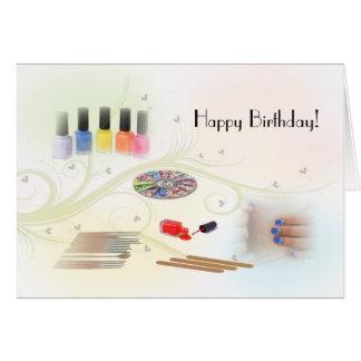 Feliz aniversario para um manicuro cartão comemorativo