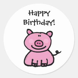 Feliz aniversario! (porco) adesivo redondo