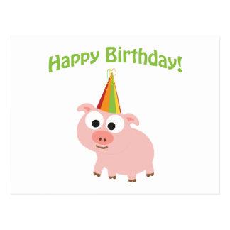 Feliz aniversario! Porco bonito Cartão Postal
