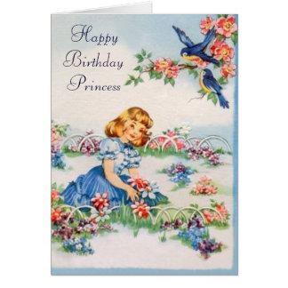 Feliz aniversario - princesa pequena cartão