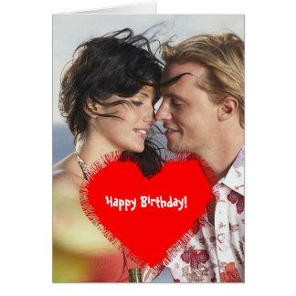 Feliz aniversario! - quadro vermelho da foto do cartão comemorativo