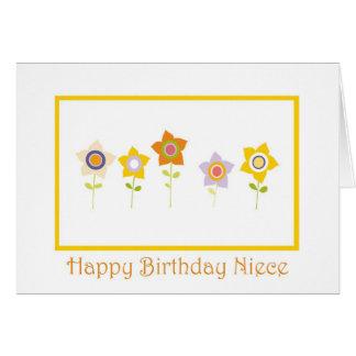 Feliz aniversario, sobrinha, flores cartão comemorativo