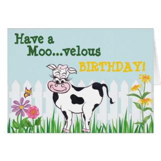 Feliz aniversario - vaca & cartão de