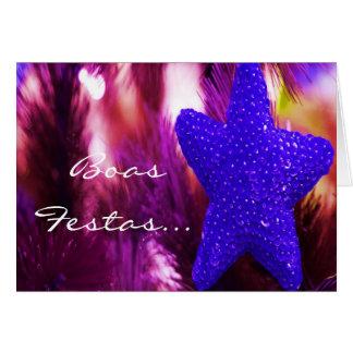 Feliz Ano Novo STAR II azul de Festas e das boas Cartão Comemorativo