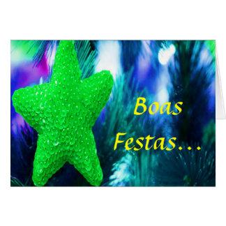 Feliz Ano Novo STAR II verde de Festas e das boas Cartão Comemorativo