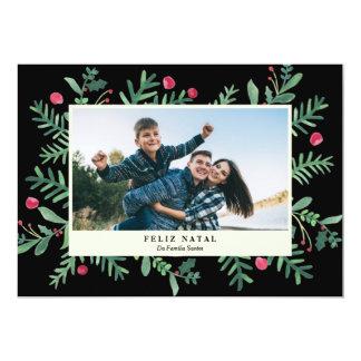Feliz Aquarela natal | Cartão de Natal Convite 12.7 X 17.78cm