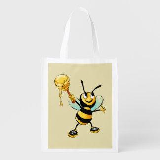 Feliz Bumble a abelha com uma colher do mel Sacola Ecológica Para Supermercado