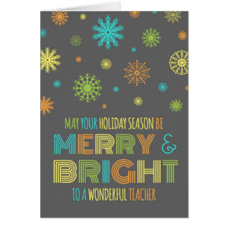 Feliz colorida do professor & cartão de Natal bril