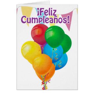 ¡ Feliz Cumpleaños com balões e estamenha Cartão Comemorativo