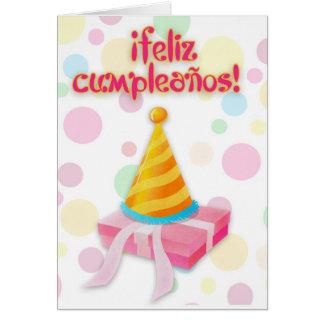 ¡ Feliz Cumpleaños com espanhol do presente e do Cartão Comemorativo