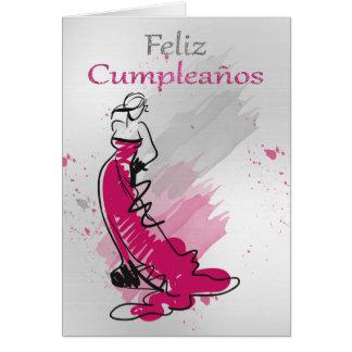 Feliz Cumpleanos, cumprimento espanhol, fêmea Cartão Comemorativo