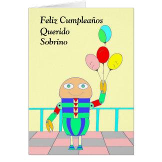 Feliz Cumpleaños Querido Sobrino Cartão Comemorativo