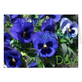 Feliz dia das mães! Cartão azul de 2013 Pansies