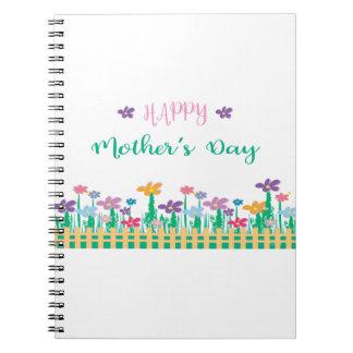 Feliz dia das mães com as flores originais caderno