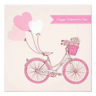Feliz dia dos namorados bonito da bicicleta do convite quadrado 13.35 x 13.35cm