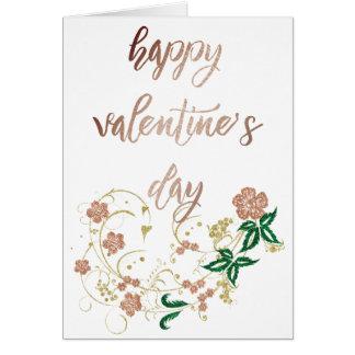 Feliz dia dos namorados cor-de-rosa do ouro cartão