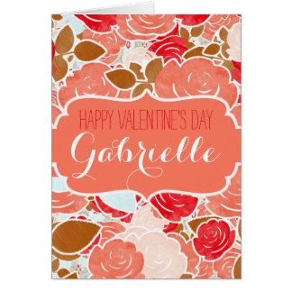 Feliz dia dos namorados dos rosas da aguarela do cartão