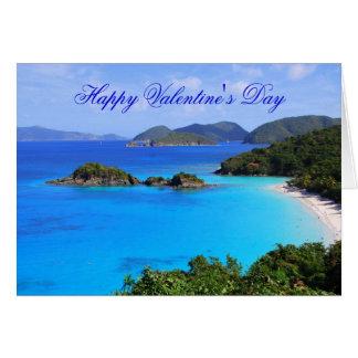 Feliz dia dos namorados, praia tropical cartão comemorativo
