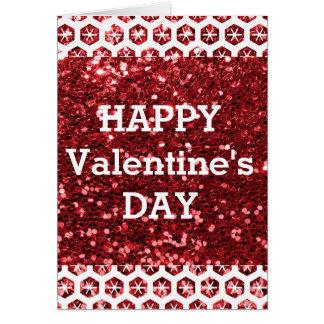 Feliz dia dos namorados vermelho do brilho cartão comemorativo