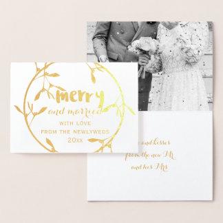 Feliz do visco do ouro e cartão casado da folha da