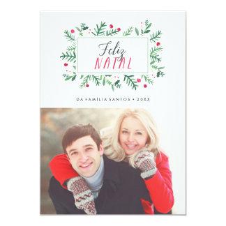 Feliz Folhagem natal Pintada | Cartão de Natal