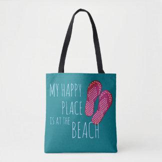 Feliz na praia & nos flip-flops - o BOLSA