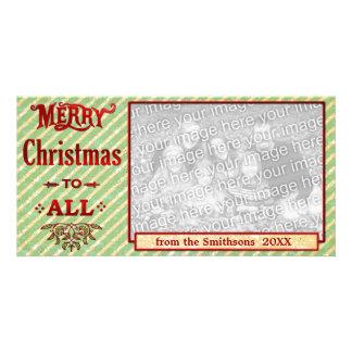 Feliz Natal a listrado toda verde Cartão Com Foto