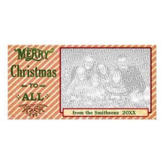 Feliz Natal a listrado toda vermelho Cartão Com Foto