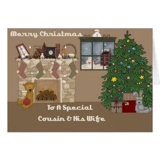 Feliz Natal a um primo & a uma esposa especiais Cartão Comemorativo