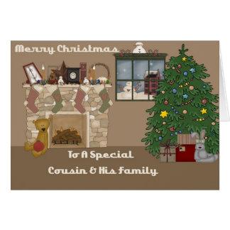 Feliz Natal a um primo a uma família especiais Cartoes