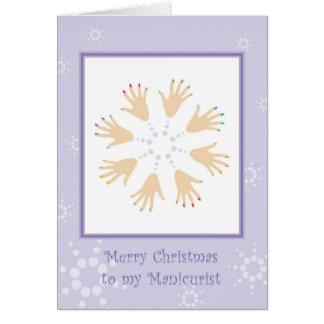Feliz Natal ao manicuro Cartão Comemorativo
