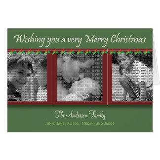 Feliz Natal azevinho e cartão da Tri Foto da hera