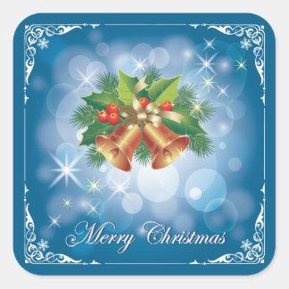 Feliz Natal azul e branco bonito Adesivo Quadrado