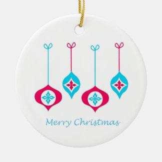 Feliz Natal azul e vermelho dos enfeites de natal