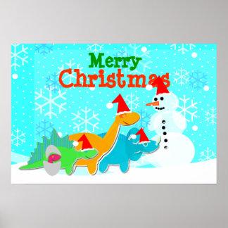 Feliz Natal boneco de neve & poster dos dinossauro Pôster