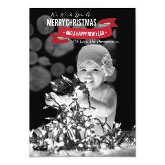 Feliz Natal & cartão liso da foto do feliz ano Convite 12.7 X 17.78cm