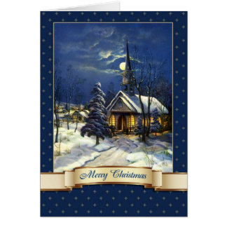 Feliz Natal. Cartões da igreja do vintage