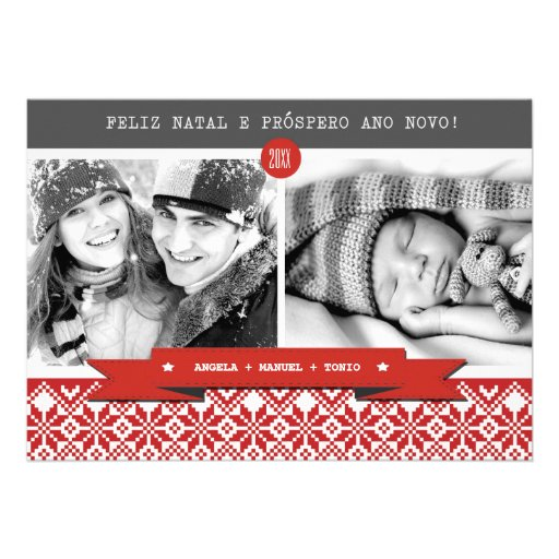 Feliz natal. Cartões de foto de Natal portugueses Convite