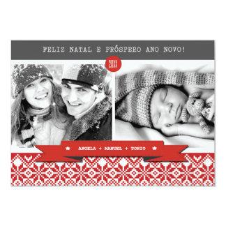 Feliz natal. Cartões de foto de Natal portugueses Convite 12.7 X 17.78cm